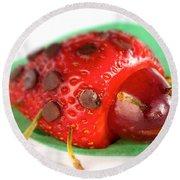 Strawberry Ladybug Round Beach Towel