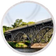 Strawberry Mansion Bridge And The Schuylkill River Round Beach Towel