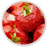 Strawberry Mosaic Round Beach Towel