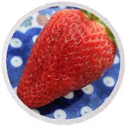 Strawberry On Blue Plate Round Beach Towel