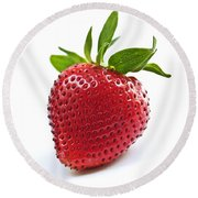 Strawberry On White Background Round Beach Towel