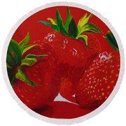 Strawberry Red Round Beach Towel