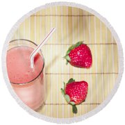 Strawberry Smoothie Round Beach Towel