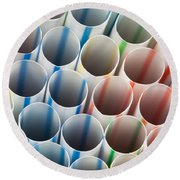 Straws 1 Round Beach Towel