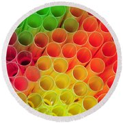 Straws In Color Round Beach Towel