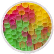 Straws Round Beach Towel