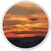 Streaks Above The Clouds Round Beach Towel