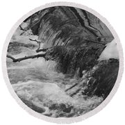 Stream Cascades Over Small Dam Round Beach Towel