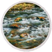 Stream Fall Colors Great Smoky Mountains Painted  Round Beach Towel