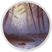 Stream In Mist Round Beach Towel