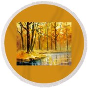 Stream In The Forest - Palette Knife Oil Painting On Canvas By Leonid Afremov Round Beach Towel