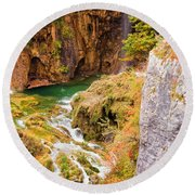 Stream In The Mountains Round Beach Towel