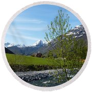 Stream To The Fjord Round Beach Towel