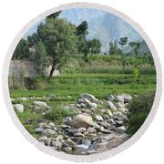 Stream Trees House And Mountains Swat Valley Pakistan Round Beach Towel