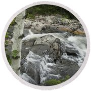 Stream With Waterfall In Vermont Round Beach Towel