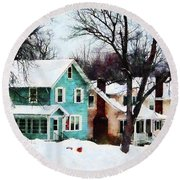 Street After Snow Round Beach Towel
