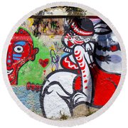Street Art Valparaiso Chile 10 Round Beach Towel