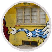 Street Art Valparaiso Chile 12 Round Beach Towel