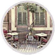 Street Cafe In Heidelberg Round Beach Towel