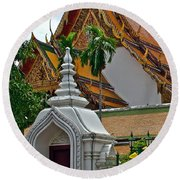 Street Entry To Wat Po In Bangkok-thailand Round Beach Towel