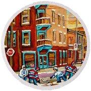 Street Hockey Practice Wilensky's Diner Montreal Winter Street Scenes Paintings Carole Spandau Round Beach Towel