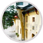 Street In Anhui Province China Round Beach Towel