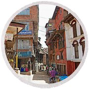Street In Bhaktapur-city Of Devotees-nepal  Round Beach Towel