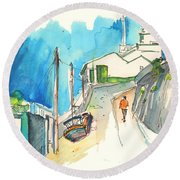 Street In Ericeira In Portugal Round Beach Towel