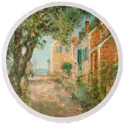 Street In Provincetown Round Beach Towel by  Childe Hassam