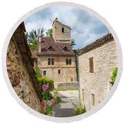 Street In Saint-cirq-lapopie Round Beach Towel