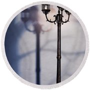 Street Lamp At Night Round Beach Towel by Oleksiy Maksymenko