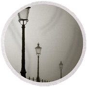 Street Lamps Round Beach Towel by Dave Bowman