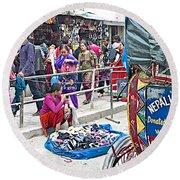 Street Market View From A Rickshaw In Kathmandu Durbar Square-nepal Round Beach Towel