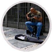 Street Musician - Sao Paulo Round Beach Towel
