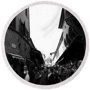 Street Of Florence Round Beach Towel