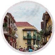 Street Scene In Old Town, Cartagena Round Beach Towel