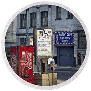 Street Scene With Coke Machine No. 2110 Round Beach Towel