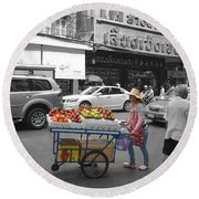 Street Seller Round Beach Towel