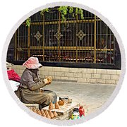 Street Shopkeeper In Lhasa-tibet Round Beach Towel