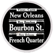 Street Sign Scenes Of New Orleans Round Beach Towel