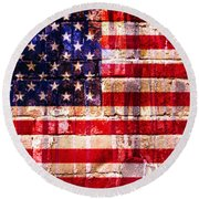 Street Star Spangled Banner Round Beach Towel by Delphimages Photo Creations