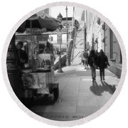 Street Vendor And Stairs In New York City Round Beach Towel