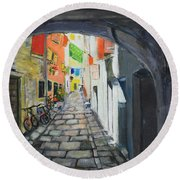 Street View 2 From Pula Round Beach Towel