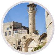 Street With Minaret In Tel Aviv Israel Round Beach Towel