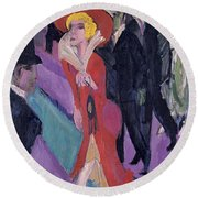 Street With Red Streetwalker Round Beach Towel