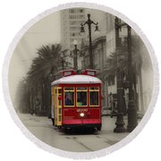 Streetcar On Canal Street - New Orleans Round Beach Towel