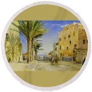 Streets Of Allergies Round Beach Towel