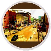Streets Of Gold Round Beach Towel