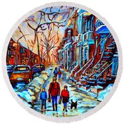 Streets Of Montreal Round Beach Towel