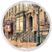 Streets Of Old New York City Watercolor Round Beach Towel